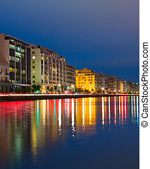 Thessaloniki quayside at twilight, Greece - View of...