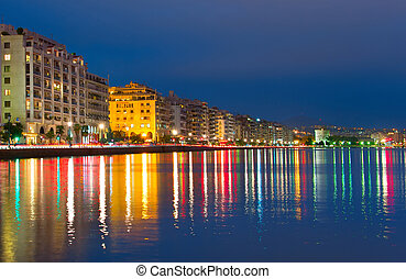 Thessaloniki skyline at twilight, Greece - Skyline of...