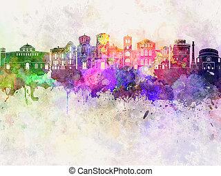 Thessaloniki skyline in watercolor