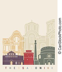 Thessaloniki skyline poster