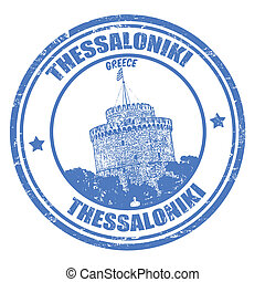 Thessaloniki stamp - Grunge rubber stamp with white tower...