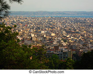 Thessaloniki - the view of Thessaloniki from above in the...