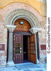 Thessaloniki, the entrance to church of Hagia Sophia