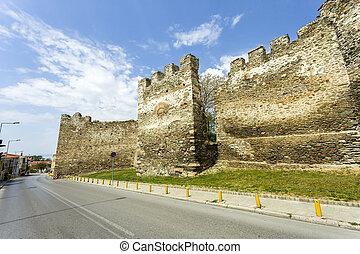 thessaloniki, vieux,  yedi,  koule, murs, forteresse