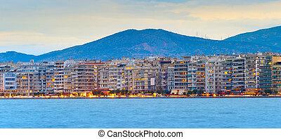 Thessaloniki waterfront panoramic view, Greece