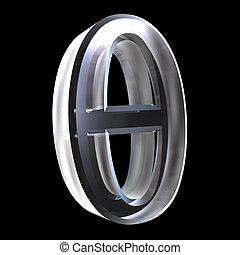 Theta symbol in glass (3d) - Theta symbol in glass (3d made)...