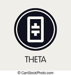 THETA - Theta. The Icon of Crypto Coins or Market Emblem. -...