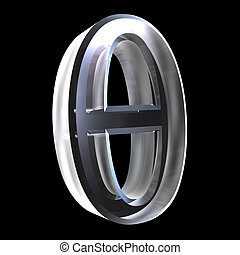 theta, vidrio, símbolo, (3d)