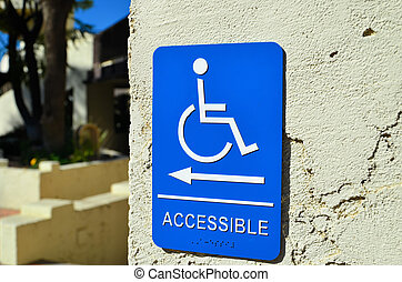 handicap accessible sign, blue in color