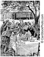 They came to see them every year, vintage engraving. - They ...