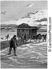 They finally left the land of America, vintage engraving. - ...