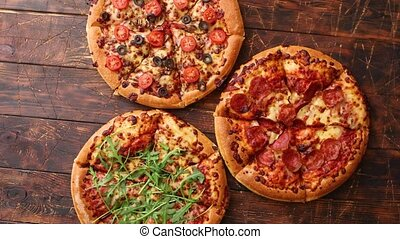 Thick american style homemade on fluffy dough pizzas