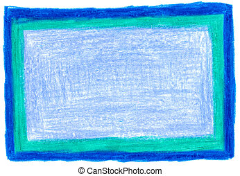 Thick Blue Crayon Background - Isolated thick blue...