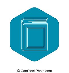 Thick book icon, outline style