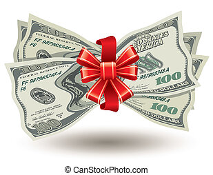 thick bundle of dollars - dollars bank notes, tied a red...