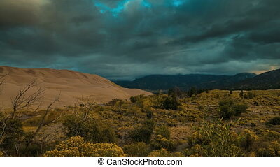 Thick Clouds over the Sangre de Cristo Mountains Great Sand Dunes Colorado Timelapse 4k