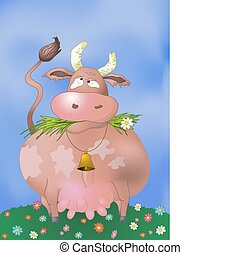 Thick cow - thick silly cow chews a green grass