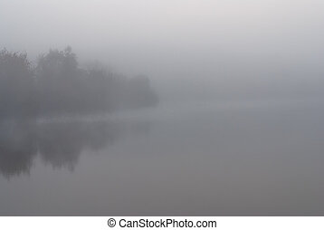 Thick fog over the lake.