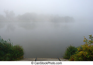 Thick fog over the lake