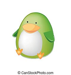 Thick green toy penguin isolated on a white background. Vector illustration