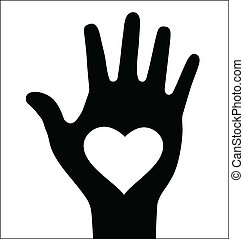 Thick hand with heart icon