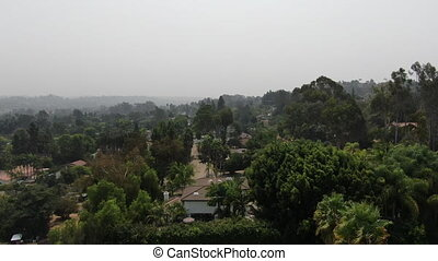 Thick haze and smog over San Diego due to wildfire in ...