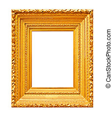 Thick massive gold frame isolated on white background