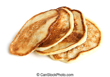 Thick pancakes on a white background