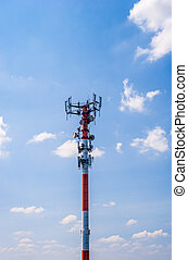 Thick red and white antenna on blue sky.
