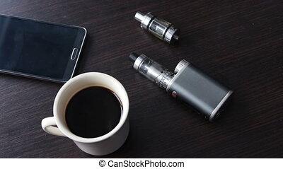 thick smoke lay down on the e-cigarette