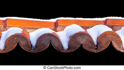 Thick Snow On Some Roof Tiles isolated on black