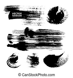 Thick strokes of black paint on textured paper