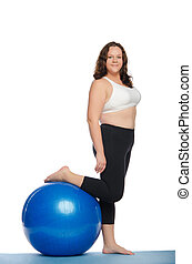 thick woman with big blue ball fitness