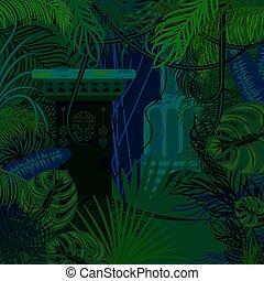 Thicket foliage jungle nature background. Dark night green...