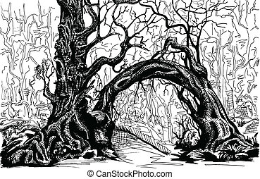 Thicket. Felled trees. Drawing black and white.
