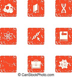 Thickness of material icons set, grunge style