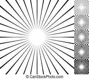 thickness., set., starburst, /, elemento, plano de fondo, 6, sunburst