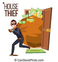 Thief And Door Vector. Bandit With Bag. Breaking Into House Through Door. Insurance Concept. Burglar, Robber In Mask, Thief, Robbery, Purse. Isolated Flat Cartoon Illustration