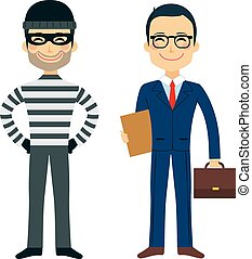 Thief And Lawyer - Happy thief and confident lawyer funny...