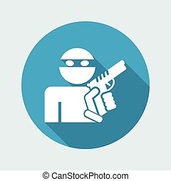 Thief armed - Vector flat icon