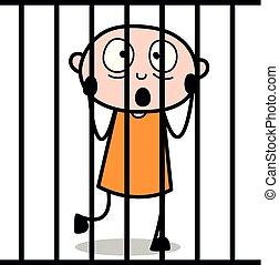 Thief Behind the Bars - Cartoon thief criminal Guy Vector Illustration