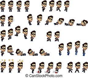 Thief Boy Animation Sprite - Vector Illustration of Thief...