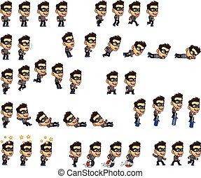 Thief Boy Animation Sprite - Vector Illustration of Thief...