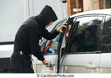 thief burglar at automobile car stealing - Thief stealing ...