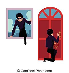 Thief, burglar breaking in house through front door and window