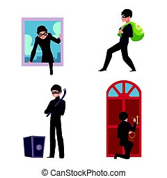 Set of thief, robber, burglar trying to steal money, break in the house, open safe, run away, cartoon vector illustration isolated on white background. Burglar, thief, robber in mask and black suit