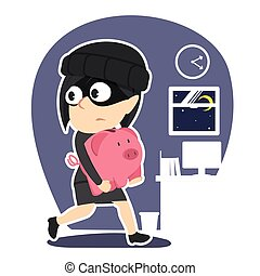 Thief businesswoman stealing piggy bank