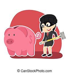 Thief businesswoman want to break piggy bank