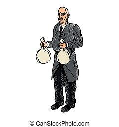 Thief cartoon with money bag design