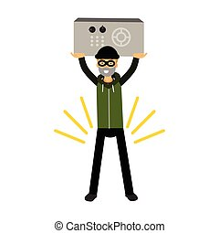 Thief character holding a safe in a highly raised hands vector Illustration